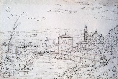 Bridge over the River and Santa Giustina, C1740-1780-Bernardo Bellotto-Giclee Print