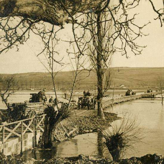Bridge over the River Meuse at Dugny, northern France, c1914-c1918-Unknown-Photographic Print