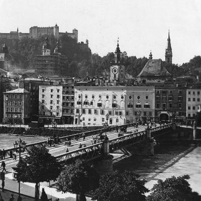 Bridge over the Salzach, Salzburg, Austria, C1900s-Wurthle & Sons-Photographic Print