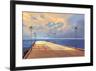 Bridge to the Sea against Beautiful Sky,Illustration Painting-Tithi Luadthong-Framed Art Print