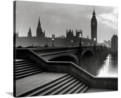 Bridge With Big Ben-The Chelsea Collection-Stretched Canvas Print