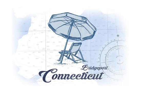Bridgeport, Connecticut - Beach Chair and Umbrella - Blue - Coastal Icon-Lantern Press-Art Print