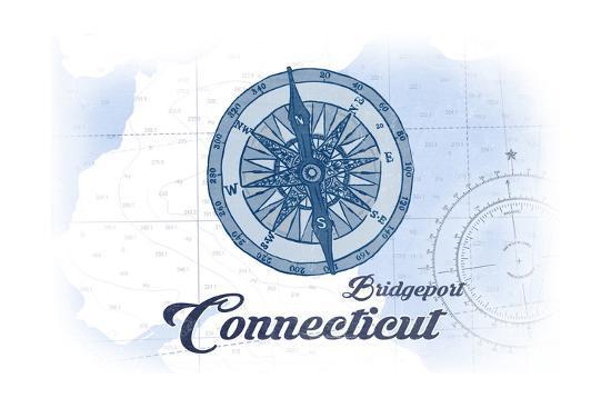 Bridgeport, Connecticut - Compass - Blue - Coastal Icon-Lantern Press-Art Print
