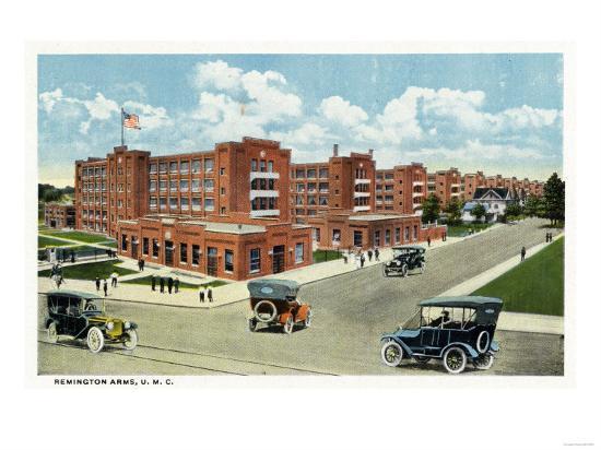 Bridgeport, Connecticut - Exterior View of the Remington Arms, UMC-Lantern Press-Art Print