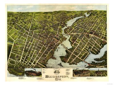 Bridgeport, Connecticut - Panoramic Map-Lantern Press-Art Print