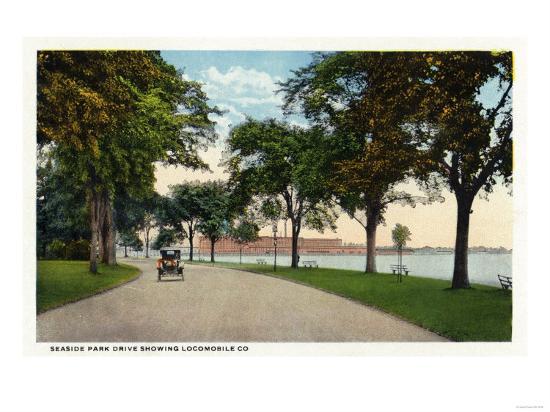 Bridgeport, Connecticut - Seaside Park Drive View Showing Locomobile Company-Lantern Press-Art Print