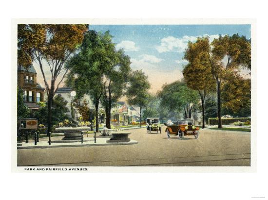Bridgeport, Connecticut - View of Park and Fairfield Avenues-Lantern Press-Art Print