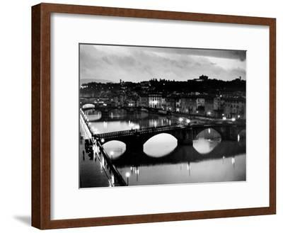 Bridges across the Arno River at Night-Alfred Eisenstaedt-Framed Premium Photographic Print