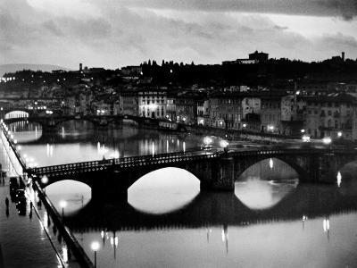 Bridges across the Arno River at Night-Alfred Eisenstaedt-Photographic Print