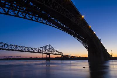 Bridges over the Mississippi River at Dawn in St. Louis, Missouri-Jerry & Marcy Monkman-Photographic Print