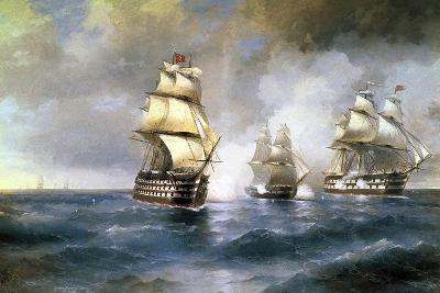 Brig Mercury Attacked by Two Turkish Ships on May 14th, 1829, 1892-Ivan Konstantinovich Aivazovsky-Giclee Print