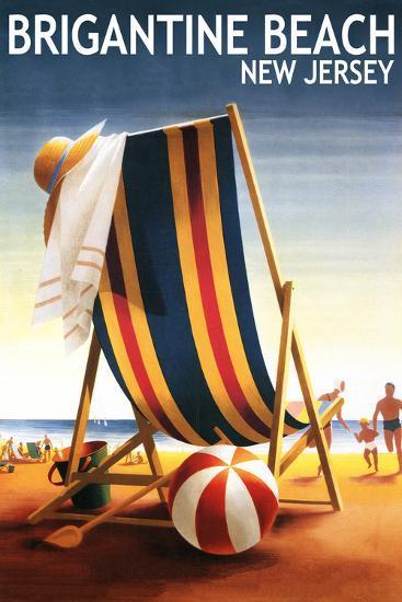 Brigantine Beach, New Jersey - Beach Chair and Ball-Lantern Press-Wall Mural