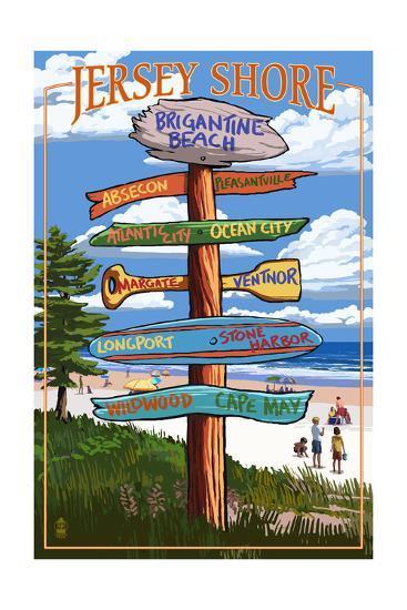Brigantine Beach, New Jersey - Destinations Signpost-Lantern Press-Art Print