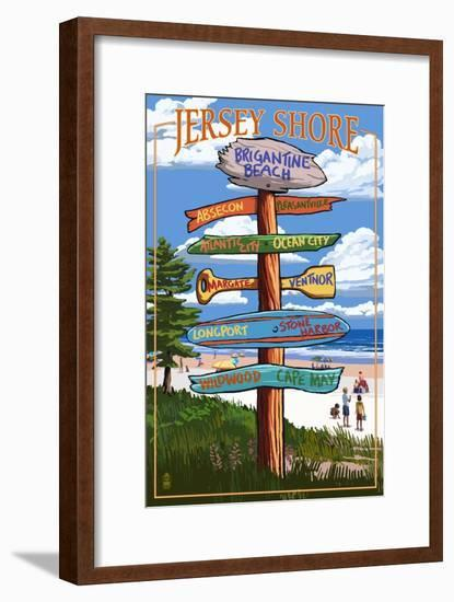Brigantine Beach, New Jersey - Destinations Signpost-Lantern Press-Framed Art Print
