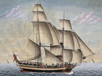 Brigantine Il Veloce, Captain Giuseppe Novaro, 1798, Watercolor by Francesco Resman, Italy--Giclee Print