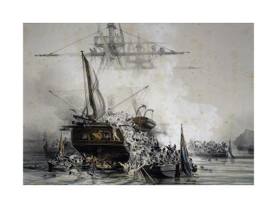 Brigantine Le Cygne Being Boarded by English Sailors--Giclee Print