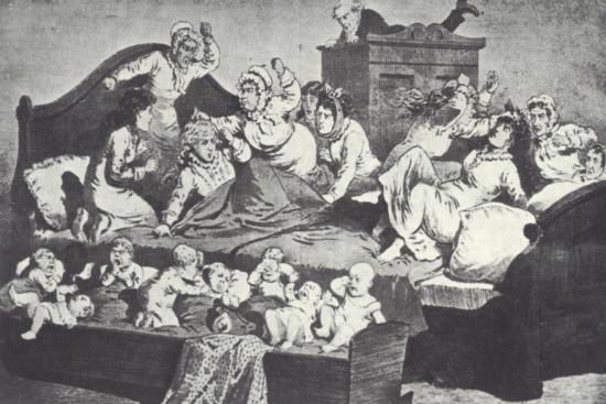 Brigham Young Hiding in a Wardrobe While His Many Wives Attack Two New Brides--Giclee Print