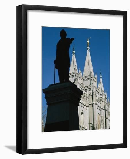 Brigham Young Statue Frames the Jesus Christ Latter Day Saints Church-Stephen St. John-Framed Photographic Print