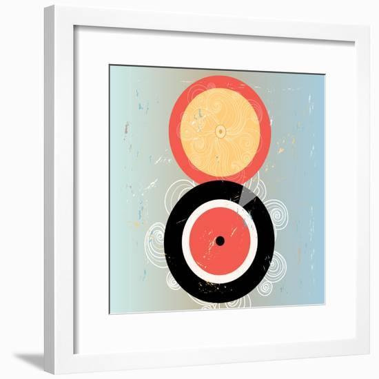 Bright Abstract Background with Plates on Aged Background-Tanor-Framed Premium Giclee Print