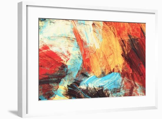 Bright Artistic Splashes on White. Abstract Painting Color Texture. Modern Futuristic Pattern. Mult-Excellent backgrounds-Framed Art Print