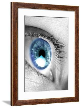 Bright Blue Eye Closeup-SSilver-Framed Photographic Print