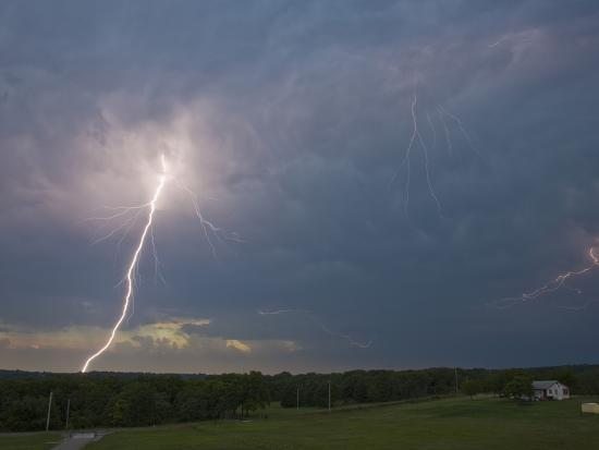 bright cloud to ground lightning flash and intracloud lighting from