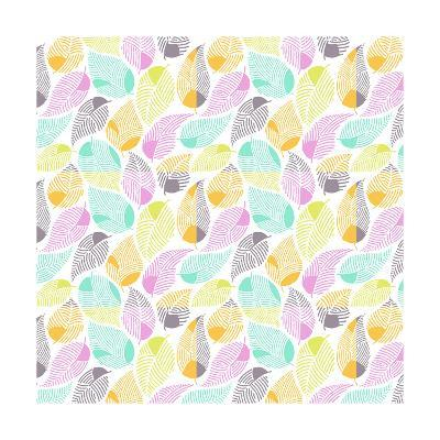 Bright Colored Leaf Pattern--Art Print