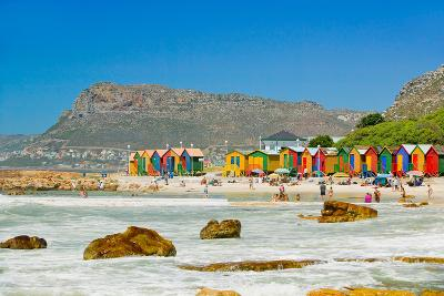 Bright Crayon-Colored Beach Huts at St James, False Bay on Indian Ocean, outside of Cape Town, S...--Photographic Print
