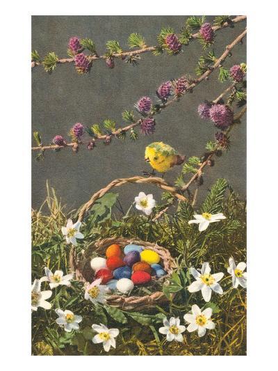 Bright Easter Eggs in Nest--Art Print
