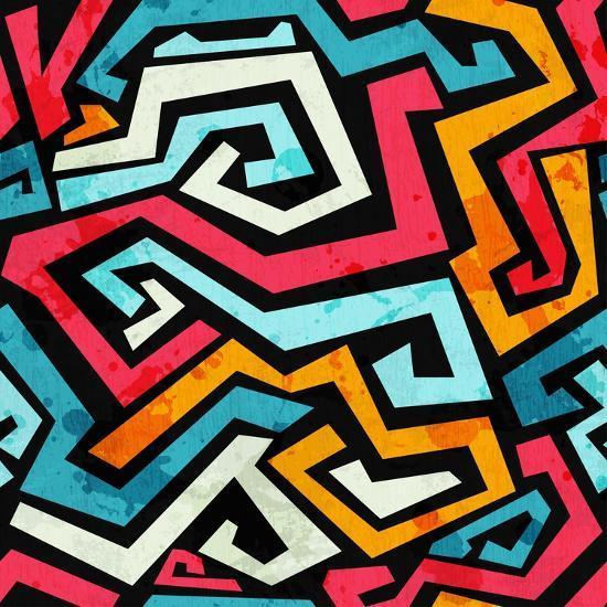 Bright Graffiti Seamless Pattern with Grunge Effect- gudinny-Art Print