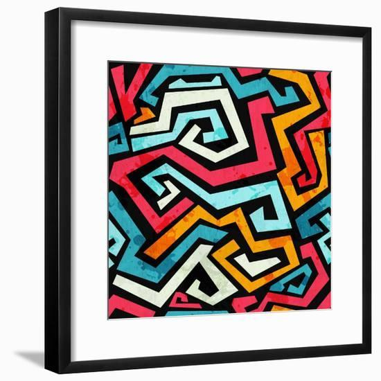 Bright Graffiti Seamless Pattern with Grunge Effect- gudinny-Framed Premium Giclee Print