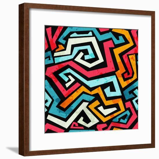 Bright Graffiti Seamless Pattern with Grunge Effect- gudinny-Framed Premium Giclee Print