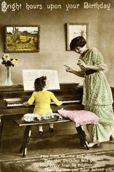 'Bright hours upon your Birthday', early 20th century. Artist: Unknown-Unknown-Giclee Print
