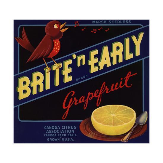 Bright n Early Brand - Canoga Park, California - Citrus Crate Label-Lantern Press-Art Print