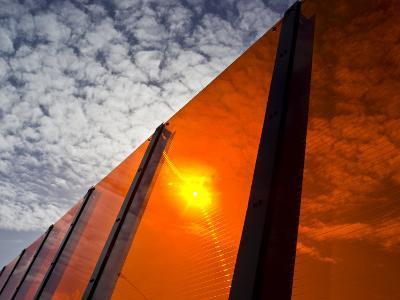 Bright Orange Sound Barrier by a Freeway-Jason Edwards-Photographic Print