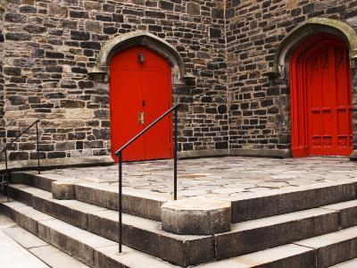 Bright Red Doors of Historic Chapel in Chelsea-Michelle Bennett-Photographic Print