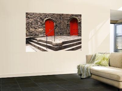 Bright Red Doors of Historic Chapel in Chelsea-Michelle Bennett-Wall Mural