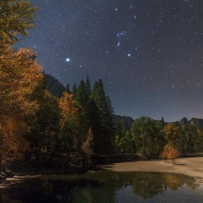 Bright Star Sirius and Constellation Orion over the Merced River in Moonlight-Babak Tafreshi-Photographic Print