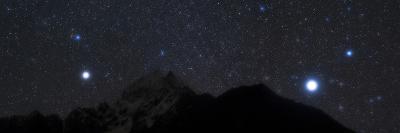 Bright Stars Sirius and Procyon Rise Above Mount Thamserku in Himalayas-Babak Tafreshi-Photographic Print