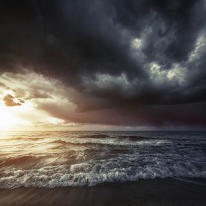Bright Sunset Against a Wavy Sea with Stormy Clouds, Hersonissos, Crete