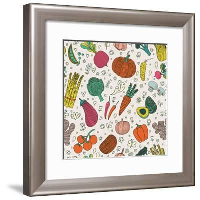 Bright Tasty Seamless Pattern with Green Peas, Eggplant, Potato, Carrot, Pumpkin, Avocado, Leek, Ra-smilewithjul-Framed Art Print