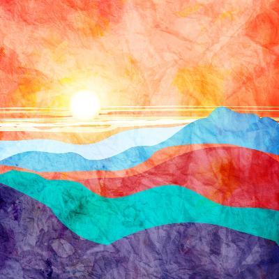 Bright Watercolor Landscape with Sunset-tanor27-Art Print
