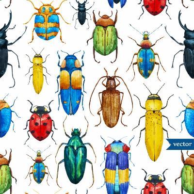 Bright Watercolor Seamless Pattern with Beetles, White Background-Anastasia Zenina-Lembrik-Art Print