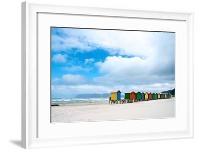 Brightly Colored Beach Huts at Fish Hoek on False Bay-Heather Perry-Framed Photographic Print