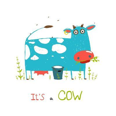 Brightly Colored Fun Cow and Milk for Kids. Blue and White Funny Cow near the Bucket of Milk. Vecto-Popmarleo-Art Print