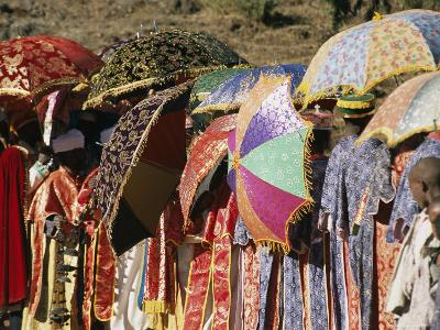 Brightly Colored Umbrellas and Robes Liven an Epiphany Procession-Michael S^ Lewis-Photographic Print