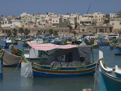 Brightly Coloured Fishing Boats Called Luzzus at the Fishing Village of Marsaxlokk, Malta-Robert Harding-Photographic Print