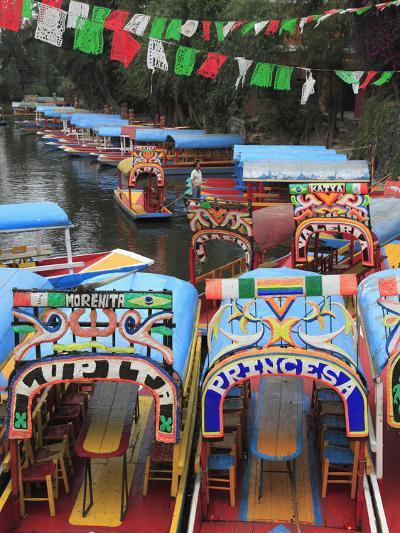 Brightly Painted Boats, Xochimilco, Trajinera, Floating Gardens, Canals, UNESCO World Heritage Site-Wendy Connett-Photographic Print