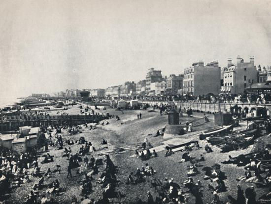'Brighton - A Long Stretch of the Beach', 1895-Unknown-Photographic Print