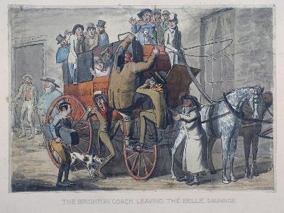 Brighton Coach Leaving Th Belle Sauvage Inn, London, C1840--Giclee Print